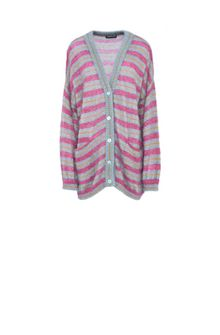 ALBERTA FERRETTI Maxi cardigan with fuchsia stripes Cardigan Woman e