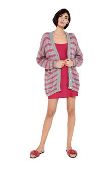 ALBERTA FERRETTI Maxi cardigan with fuchsia stripes Cardigan Woman f