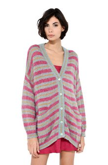 ALBERTA FERRETTI Maxi cardigan with fuchsia stripes Cardigan Woman r