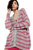 ALBERTA FERRETTI Maxi cardigan with fuchsia stripes Cardigan Woman a