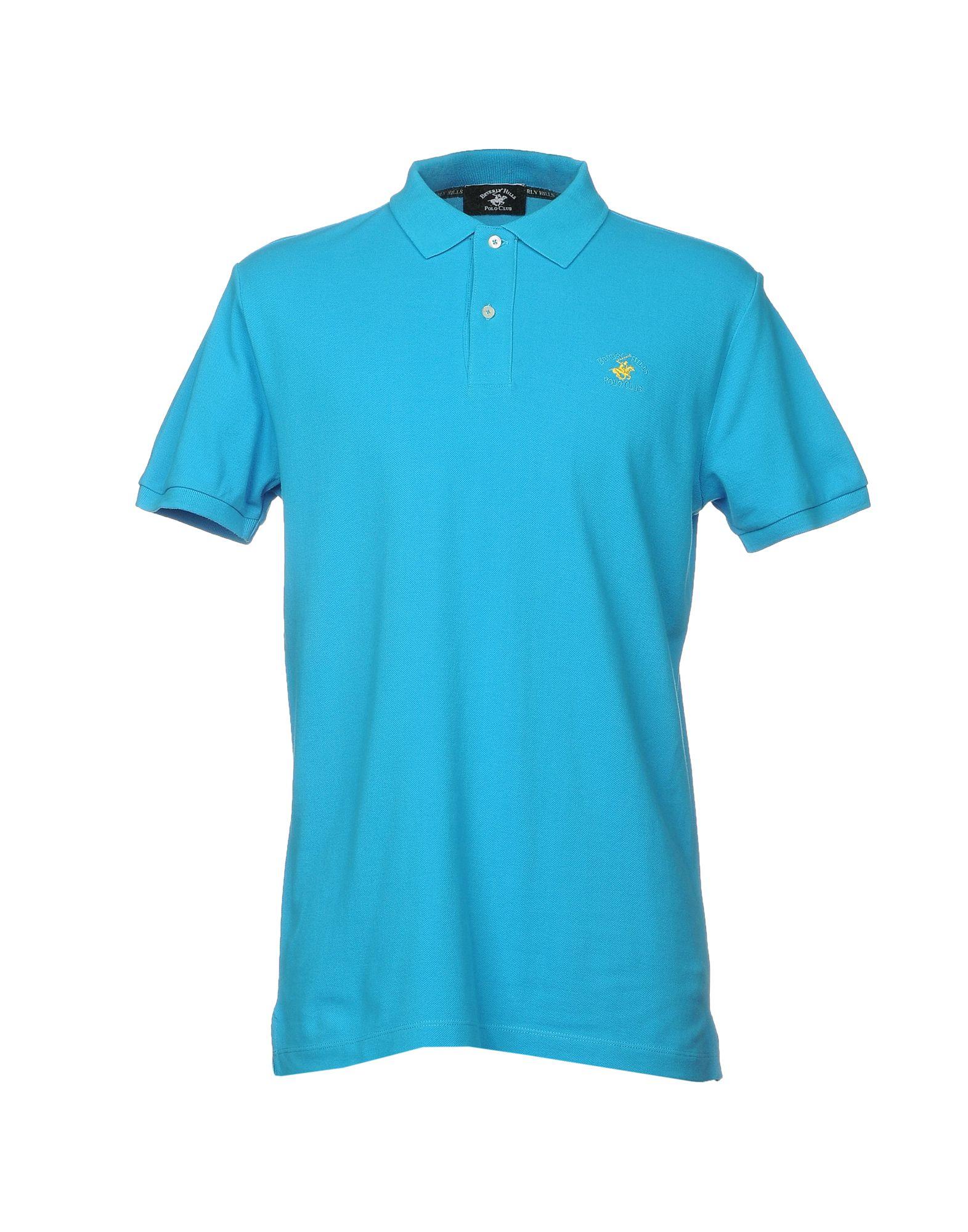 《送料無料》BEVERLY HILLS POLO CLUB メンズ ポロシャツ アジュールブルー XS コットン 100%