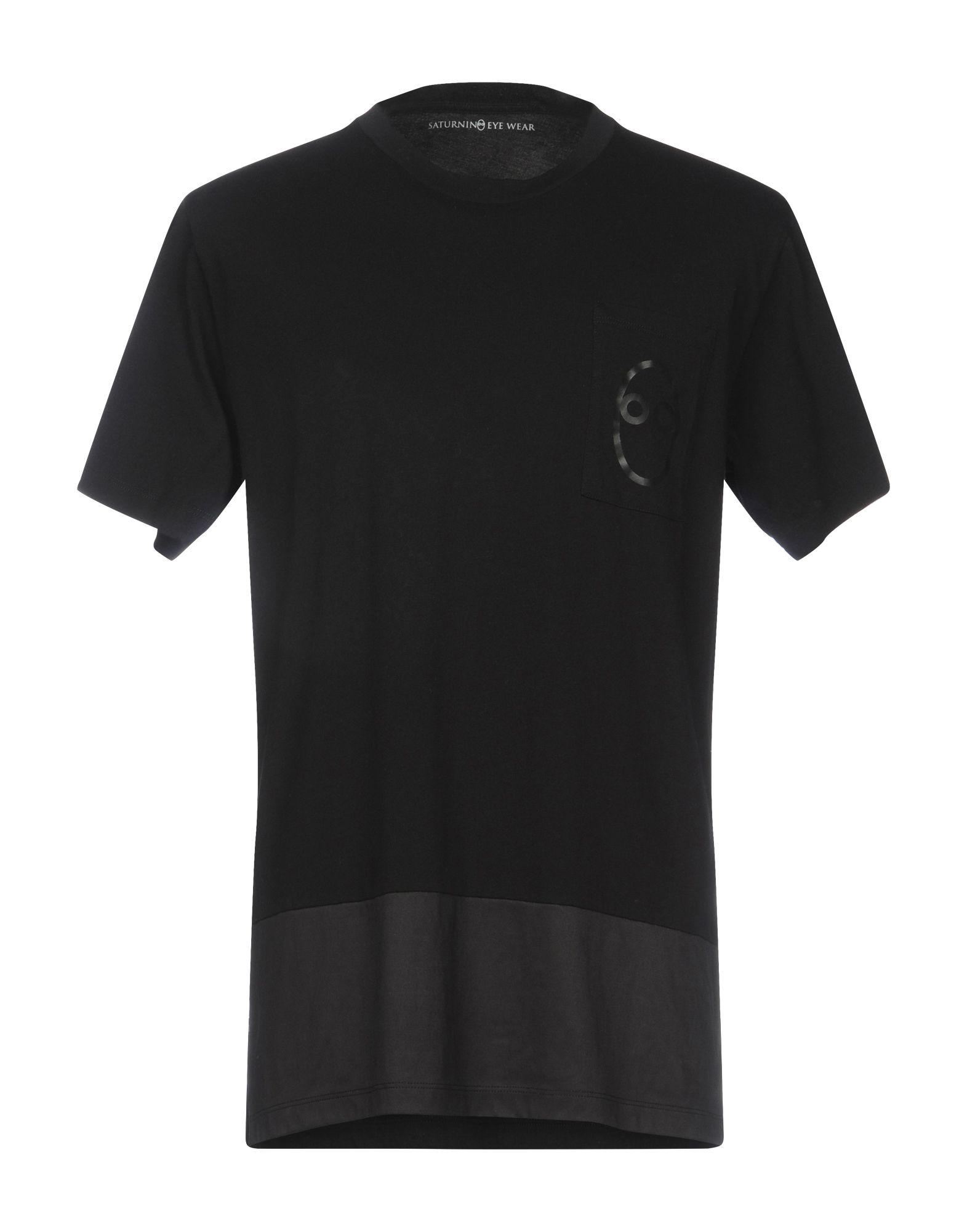 《期間限定セール中》SATURNINO EYE WEAR メンズ T シャツ ブラック XS コットン 100%