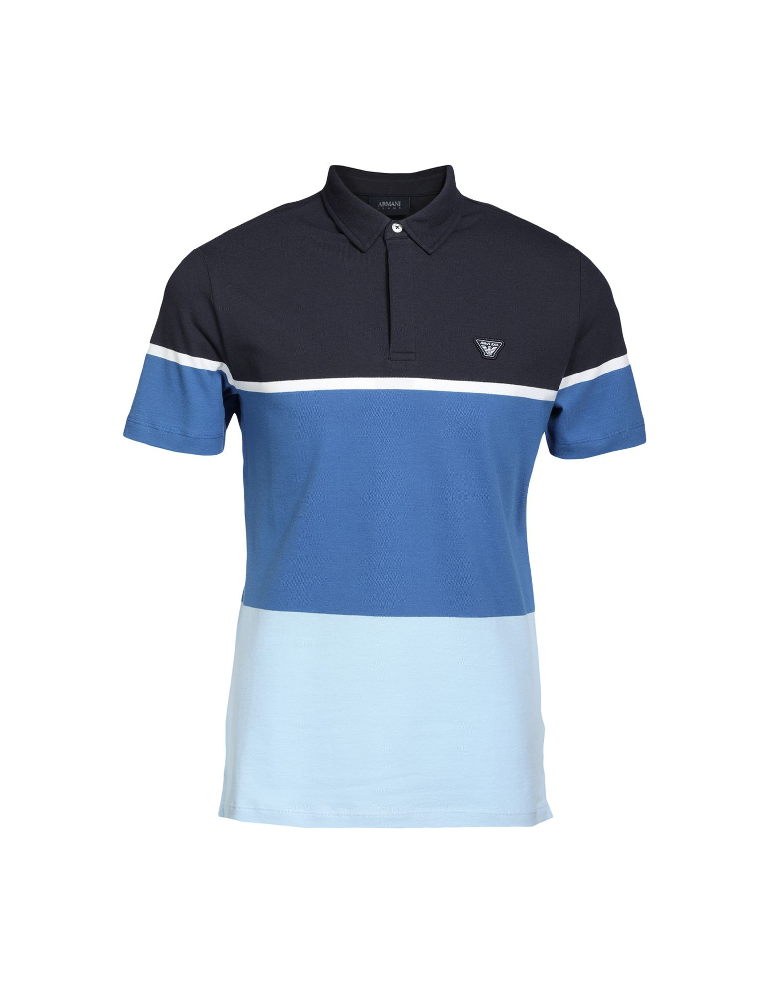 e0a5303db ARMANI JEANS Polo shirts. piqué, multicolor pattern, polo collar, short  sleeves, front closure, button closing, no pockets, logo, stretch, small  sized.