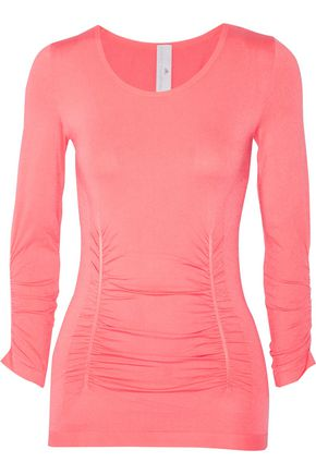 ADIDAS by STELLA McCARTNEY Ruched mesh-paneled stretch-jersey top