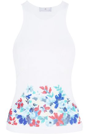 ADIDAS by STELLA McCARTNEY Run cutout printed CLIMACOOL stretch tank