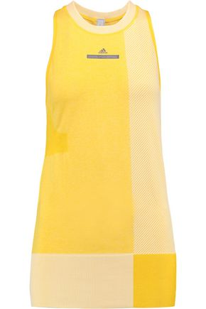 ADIDAS by STELLA McCARTNEY Two-tone jacquard-knit tank top