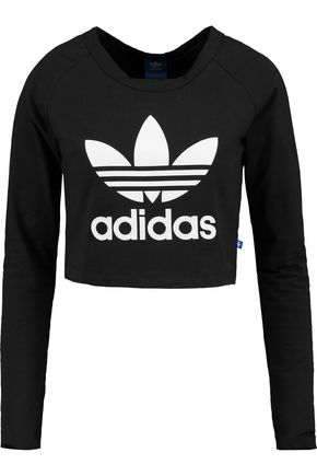 ADIDAS ORIGINALS Cropped printed stretch-cotton jersey sweatshirt