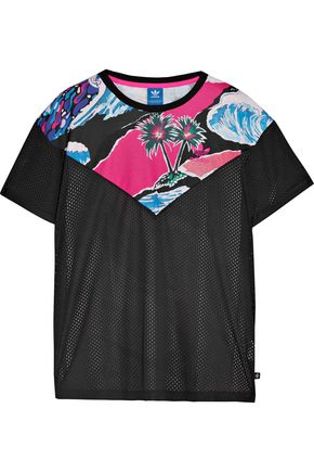 ADIDAS ORIGINALS Printed jersey and mesh top