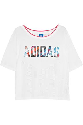 ADIDAS ORIGINALS Mesh-paneled printed slub cotton and modal-blend jersey T-shirt