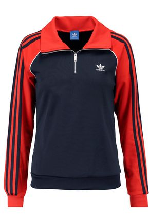 ADIDAS ORIGINALS Two-tone cotton-blend shell sweatshirt