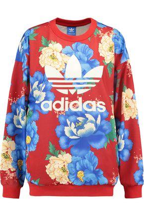 ADIDAS ORIGINALS Printed floral-print jersey sweatshirt