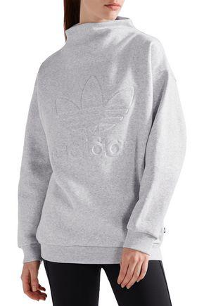 ADIDAS ORIGINALS Embossed cotton-blend fleece sweatshirt