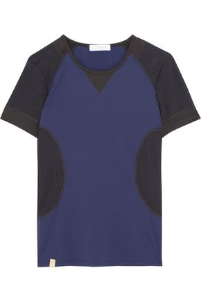 MONREAL LONDON Paneled perforated stretch-knit top