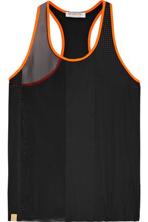 MONREAL LONDON Neon-trimmed panelled mesh and stretch-neoprene tank