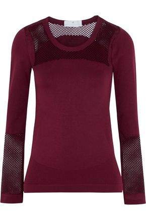 ADIDAS by STELLA McCARTNEY Mesh-paneled stretch-jersey top