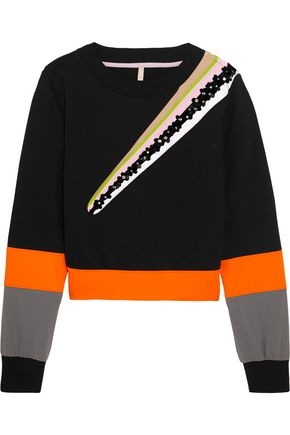 NO KA 'OI Wili embellished striped cotton-blend jersey sweatshirt