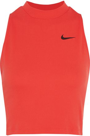 NIKE Dry cropped ribbed Dri-FIT stretch-jersey tank