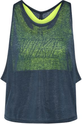 NIKE Training layered cutout slub jersey and Dri-FIT stretch tank