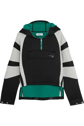 ADIDAS ORIGINALS Cotton jersey-paneled neoprene hooded top