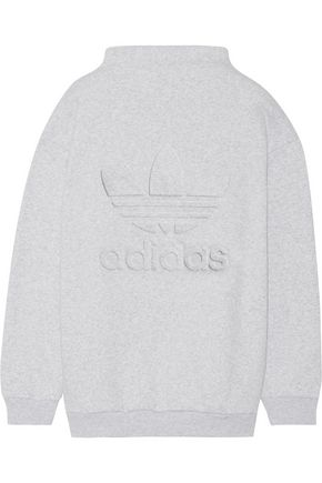 ADIDAS Embossed cotton-blend fleece sweatshirt