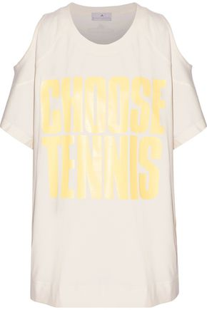 ADIDAS by STELLA McCARTNEY Cold-shoulder printed cotton-jersey T-shirt