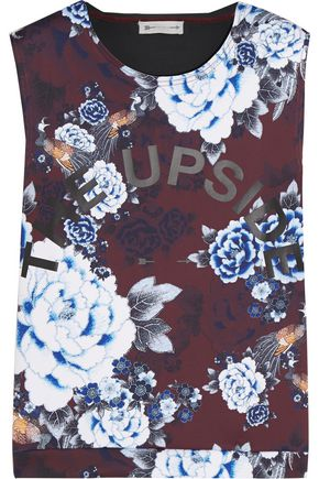 THE UPSIDE Muscle floral-print scuba-jersey tank