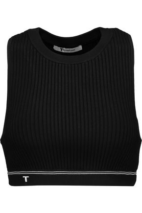 T by ALEXANDER WANG Ribbed stretch-knit bra top