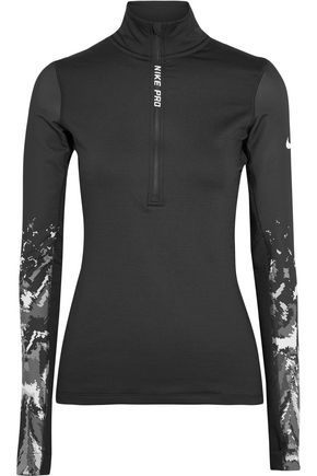 NIKE Pro Hyperwarm printed stretch-jersey top