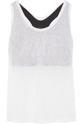 NIKE Training layered cutout slub and Dri-FIT stretch-jersey tank