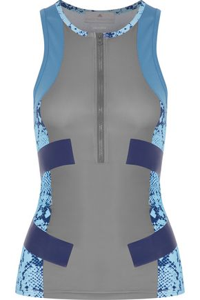 ADIDAS by STELLA McCARTNEY Mesh-paneled printed stretch tank