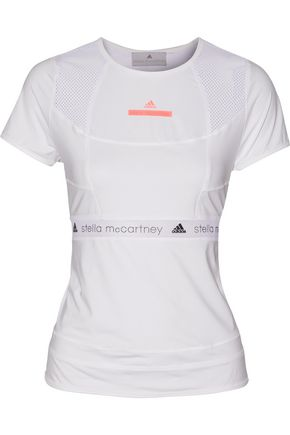 ADIDAS by STELLA McCARTNEY Run mesh paneled stretch T-shirt