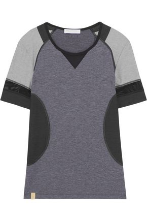 MONREAL LONDON Hi-Performance mesh-trimmed stretch-jersey T-shirt