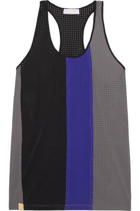 MONREAL LONDON Color-block perforated stretch-jersey tank