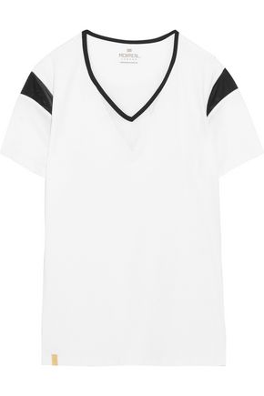 MONREAL LONDON Desert mesh-trimmed stretch-neoprene T-shirt
