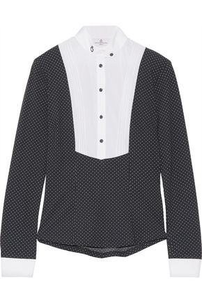 CAVALLERIA TOSCANA Cotton blend-paneled polka-dot stretch-jersey top