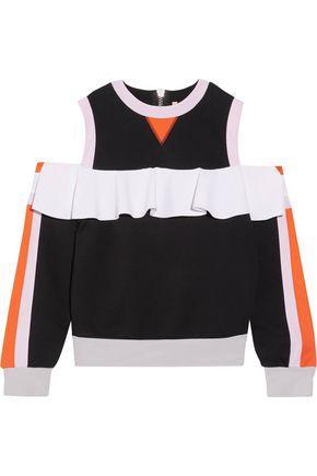 NO KA 'OI Nele cold-shoulder cotton-blend jersey and neoprene top