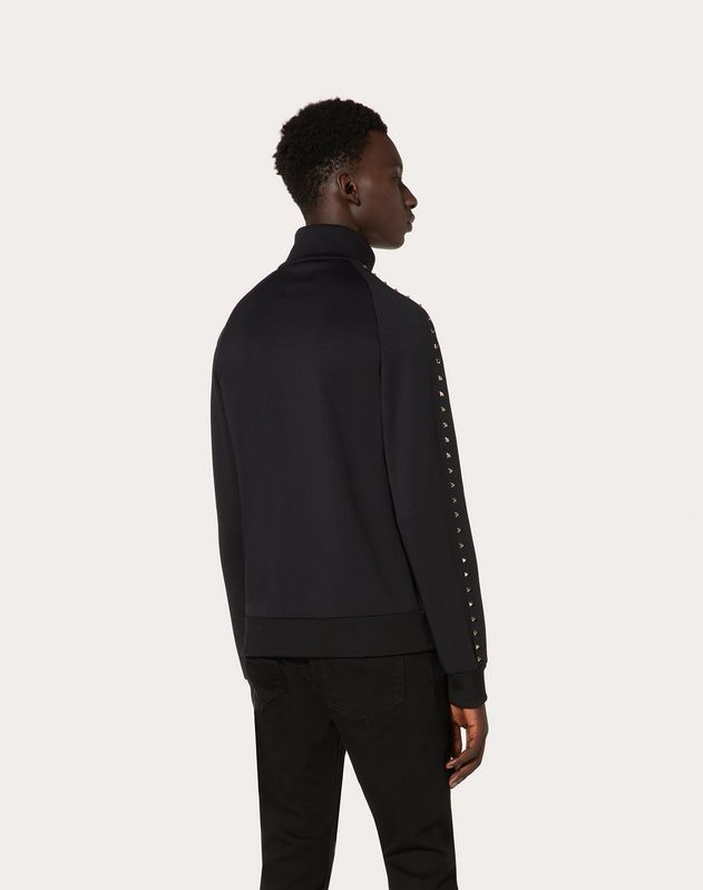 ROCKSTUD UNTITLED ZIPPED JERSEY SWEATSHIRT