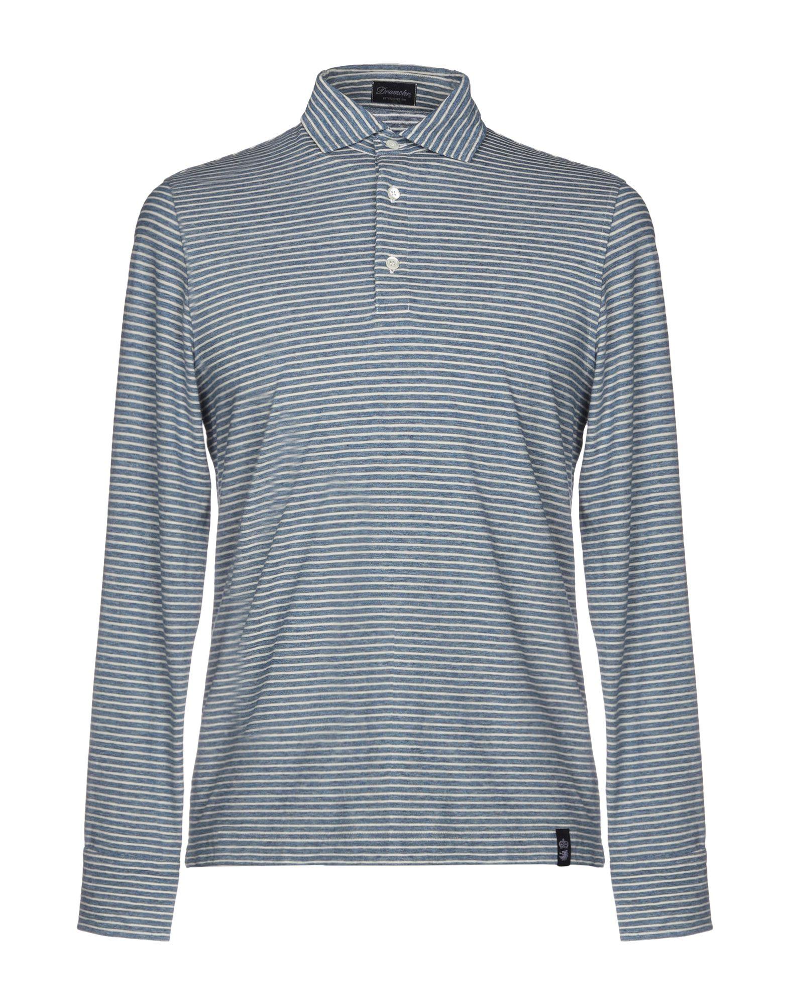 《送料無料》DRUMOHR メンズ ポロシャツ ブルー S コットン 100%