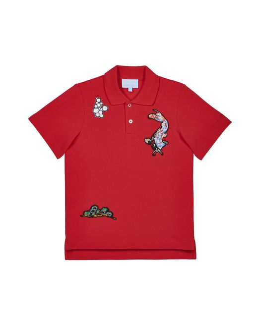 EMBROIDERED RED POLO - Lanvin