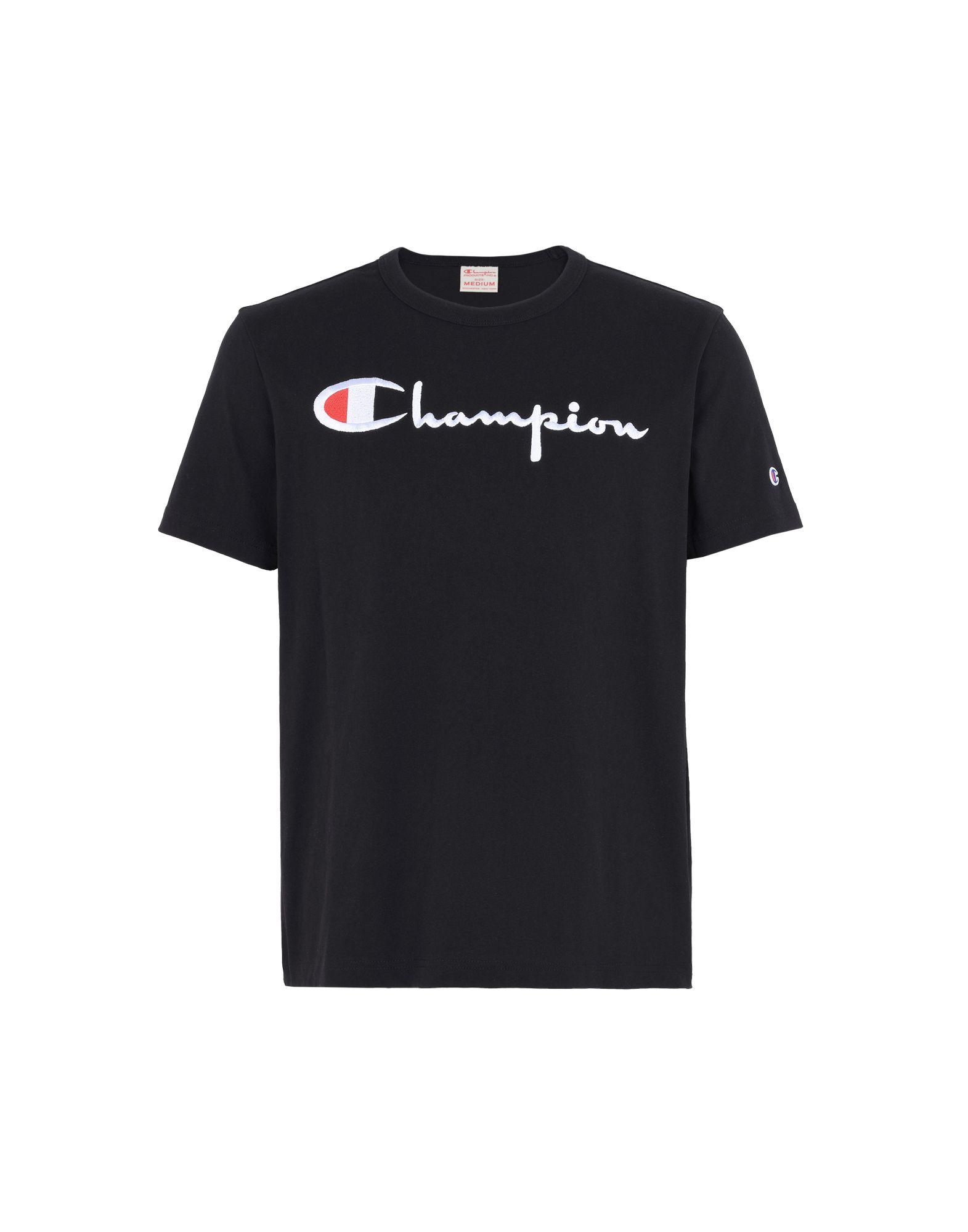 《セール開催中》CHAMPION REVERSE WEAVE メンズ T シャツ ブラック S コットン 100% CREWNECK T-SHIRT LOGO