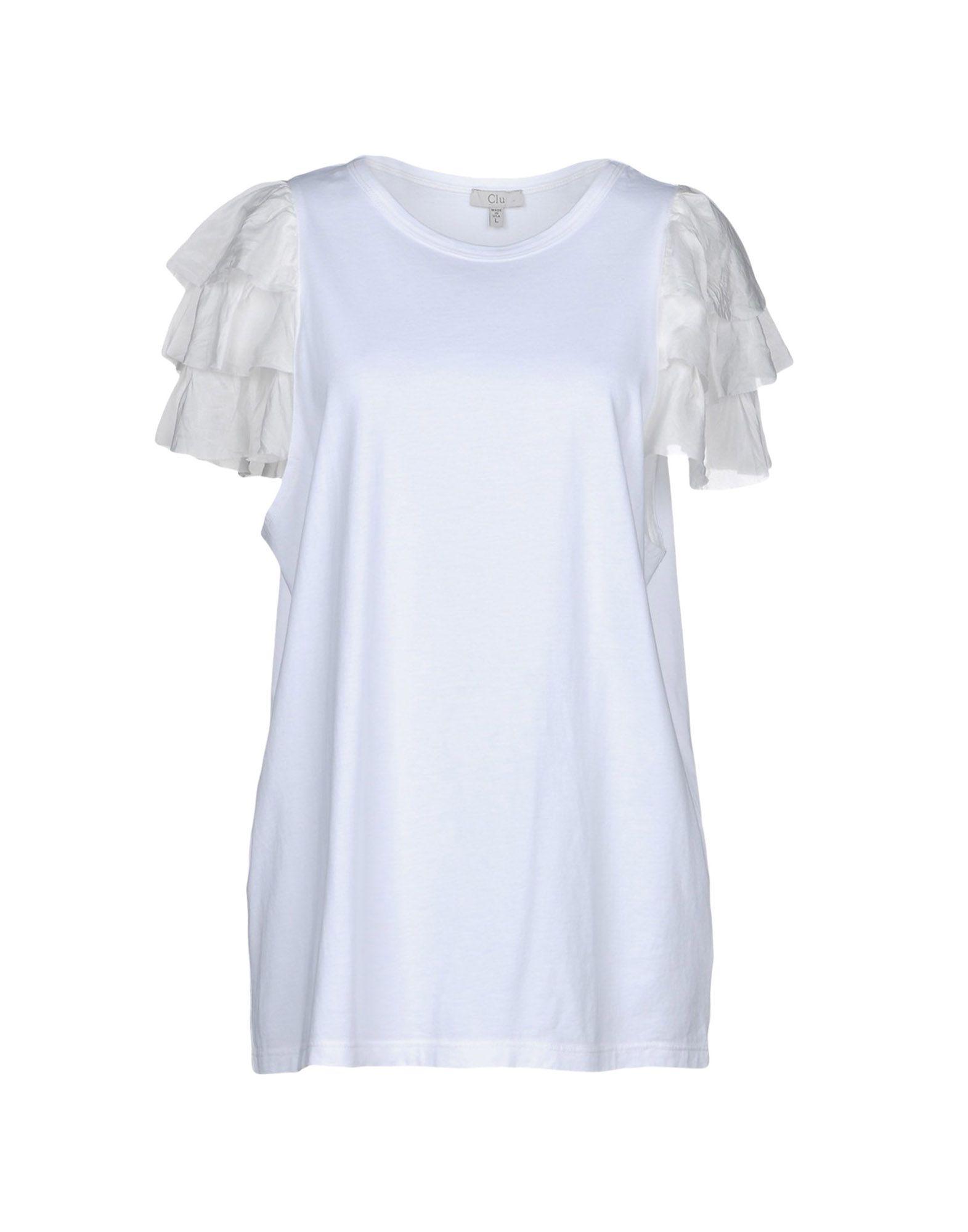 《送料無料》CLU レディース T シャツ ホワイト L コットン 100%