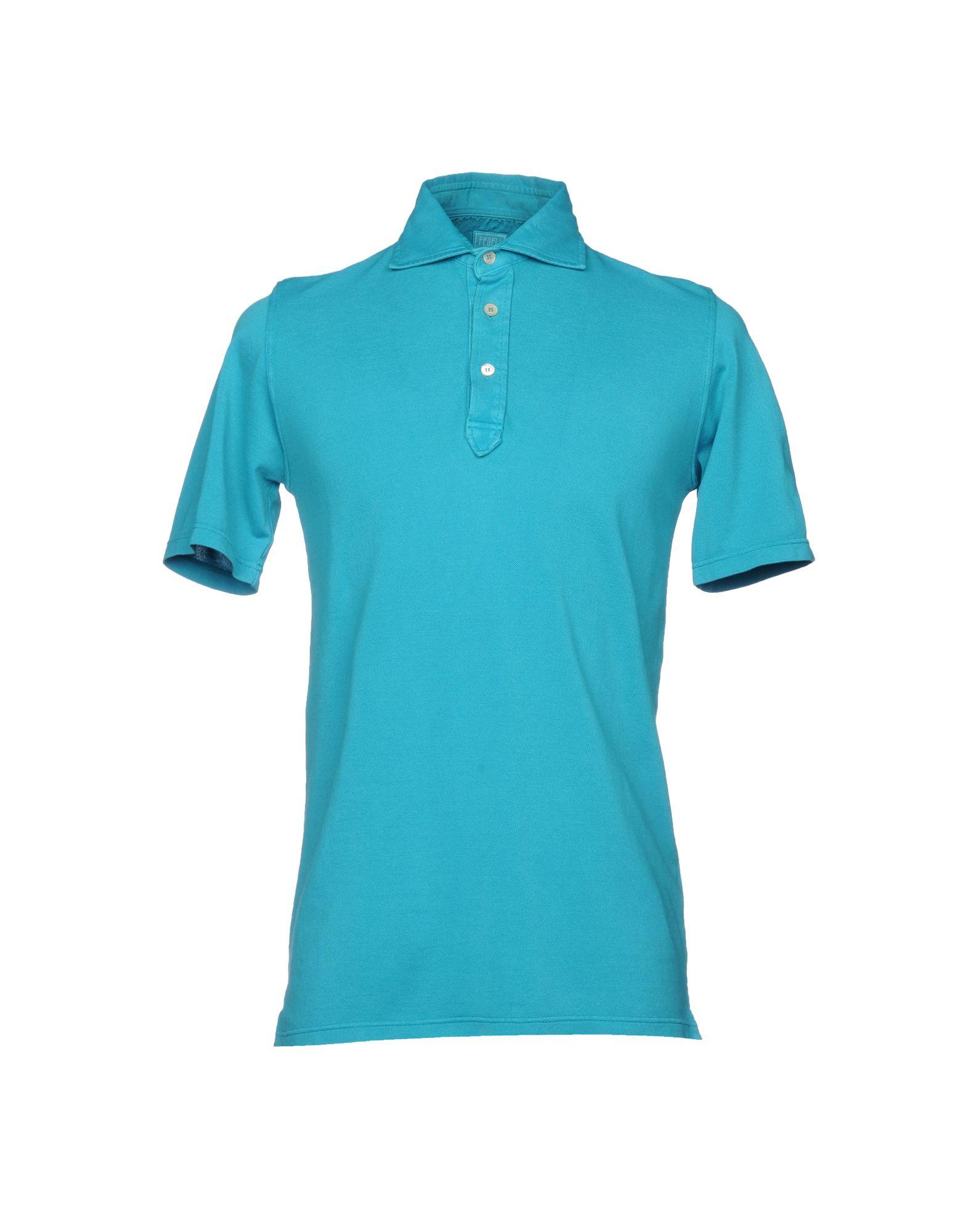 FEDELI メンズ ポロシャツ ターコイズブルー 46 コットン 100%