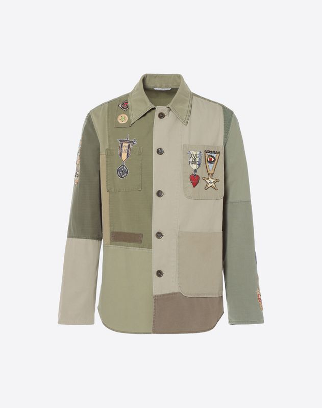 Patchwork shirt with embroidered insignia