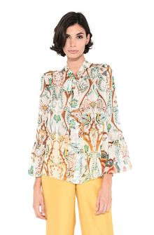 ALBERTA FERRETTI Shirt with soft bow Blouse Woman r