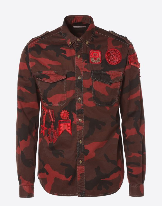 Camouflage shirt with military embroidery