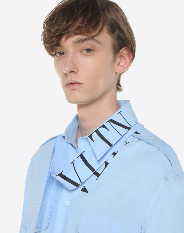 Рубашка с воротником-шарфом и логотипом VLTN