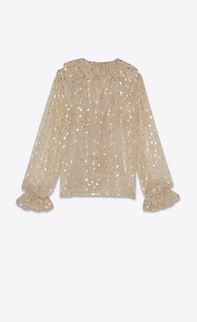 SAINT LAURENT Tops and Blouses Woman Ruffled blouse in beige silk georgette with gold polka dots b_V4