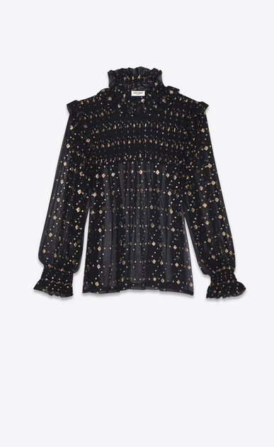 SAINT LAURENT Tops and Blouses Woman Smocked blouse in black silk with gold diamond shapes a_V4