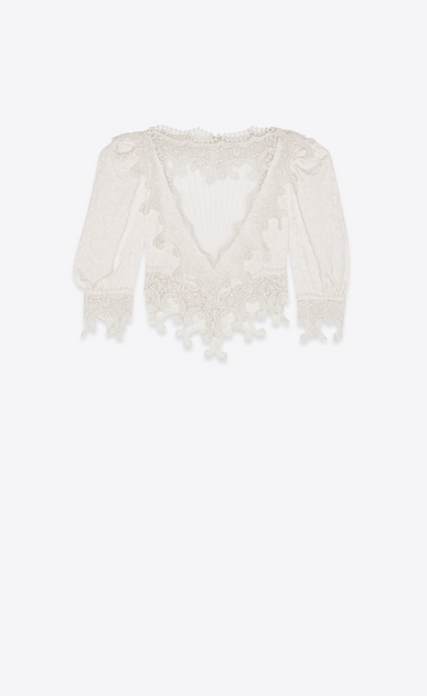 SAINT LAURENT Tops and Blouses Woman Blouse with heart-shaped dickey in ivory silk and lace a_V4