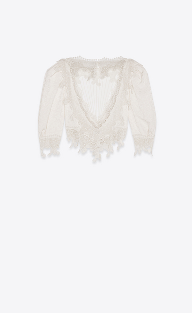 SAINT LAURENT Tops and Blouses Woman Blouse with heart-shaped dickey in ivory silk and lace b_V4